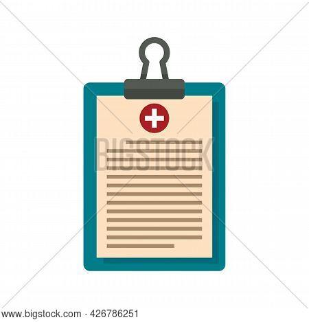Pharmacist Clipboard Icon. Flat Illustration Of Pharmacist Clipboard Vector Icon Isolated On White B