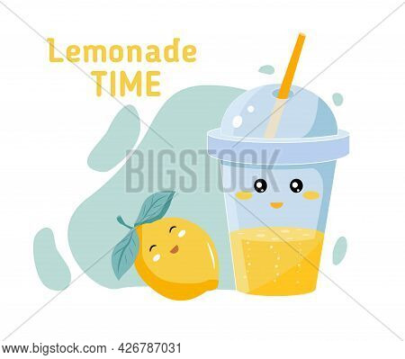 Glass And Cocktail Tube With Lemonade Or Ice Tea Lemon Slice And Lemon Vector Illustration In A Cart