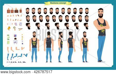 Hipster Creation Kit. Set Of Flat Male Cartoon Character Body Parts, Skin Types, Facial Gestures, Ha