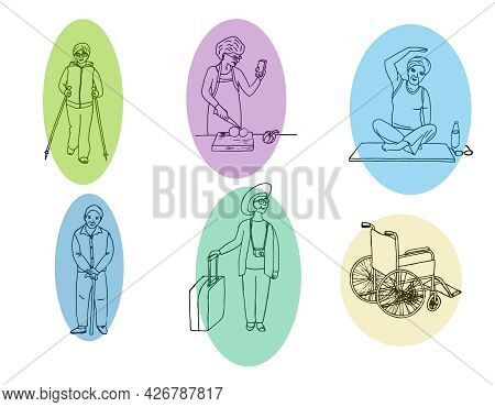 A Set Of Illustrations Of Cheerful Elderly People Leading A Healthy Lifestyle. Pensioners Play Sport
