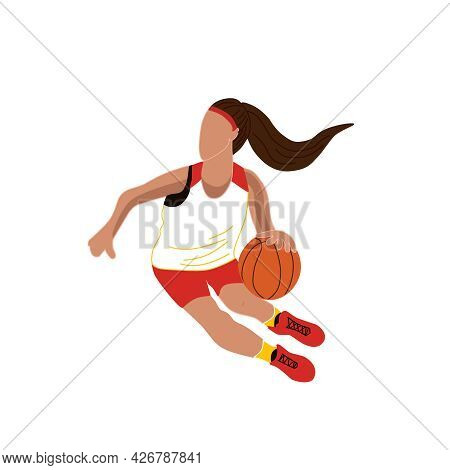 A Woman Is Playing Basketball. Isolated Vector Illustration Of A Basketball Player. Training Of A Yo