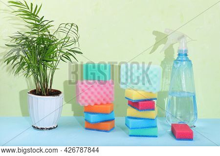 Colored Sponges For Dishwashing And Cleaning, Orchid Flowers, A Bottle Of Detergent In A Sunny Room