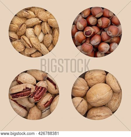Four Types Of Unpeeled Nuts In Holes On An Eco Background. Unpeeled Almonds, Walnuts, Hazelnuts And