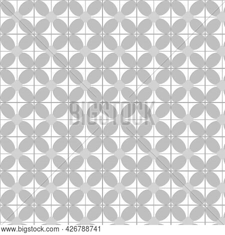 Seamless Abstract Background Texture In Gray Geometric Ornamental Style. Illustration Flat Art Desig