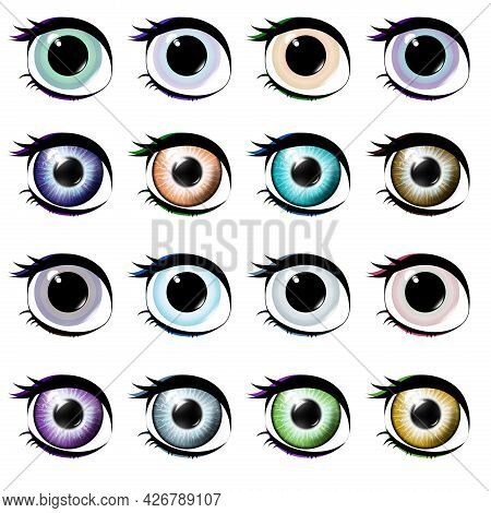 Set Of Eyes Isolated On A White Background. Different Eye Colors. Realistic. Most Common Eye Colors.