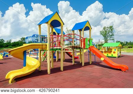 Colorful Playground Empty. Outdoor Playground Set. Children Playground Equipment. Play Area. Play Ya
