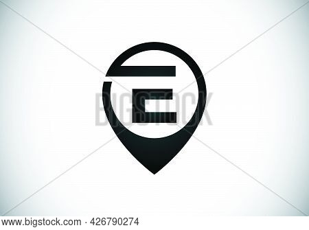Initial E Monogram Letter Alphabet With Location Icon Pin Sign. Font Emblem. Navigation Map, Gps, Di
