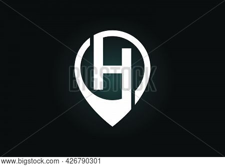 Initial H Monogram Letter Alphabet With Location Icon Pin Sign. Font Emblem. Navigation Map, Gps, Di