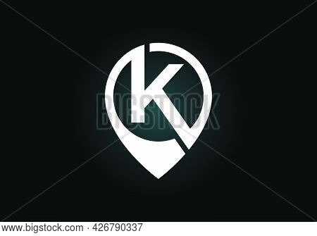 Initial K Monogram Letter Alphabet With Location Icon Pin Sign. Font Emblem. Navigation Map, Gps, Di