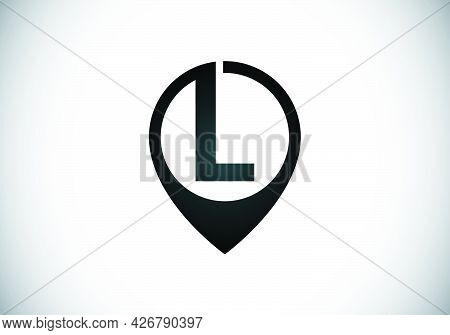 Initial L Monogram Letter Alphabet With Location Icon Pin Sign. Font Emblem. Navigation Map, Gps, Di