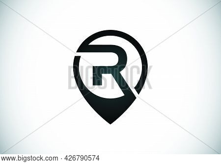 Initial R Monogram Letter Alphabet With Location Icon Pin Sign. Font Emblem. Navigation Map, Gps, Di