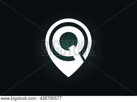 Initial Q Monogram Letter Alphabet With Location Icon Pin Sign. Font Emblem. Navigation Map, Gps, Di