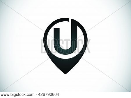 Initial U Monogram Letter Alphabet With Location Icon Pin Sign. Font Emblem. Navigation Map, Gps, Di