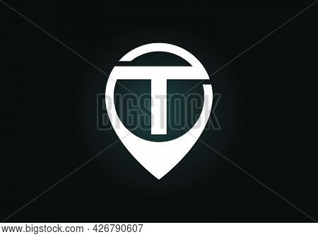 Initial T Monogram Letter Alphabet With Location Icon Pin Sign. Font Emblem. Navigation Map, Gps, Di
