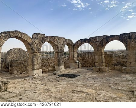 The Ruins Of A Synagogue In The Ancient Jewish Settlement Of Susiya In The Hebron Highlands In Israe