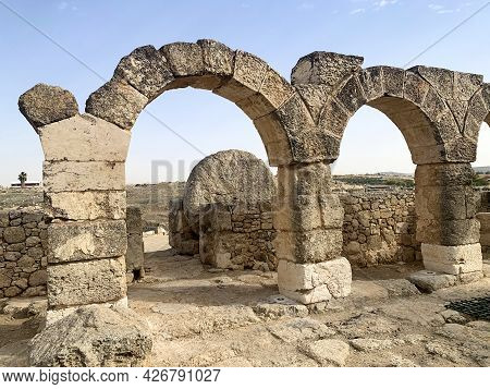 Round Stone That Locks The Gate To The Courtyard Of The Synagogue Of The Ancient Jewish Settlement O