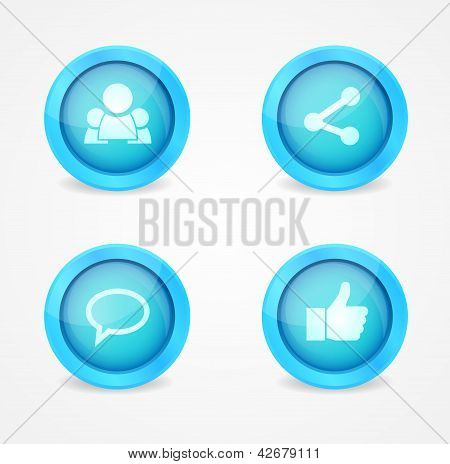 Set of glossy social icons