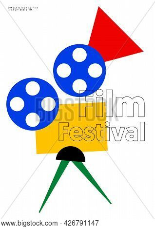 Movie Poster Design Template Background With Minimal Geometric Shape Of Film Camera. Can Be Used For