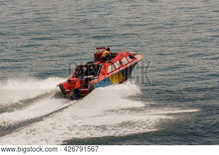 Labuan,malaysia-feb 2,2018:the Passenger Speedboat Services For Labuan Island To Menumbok,sabah Rout