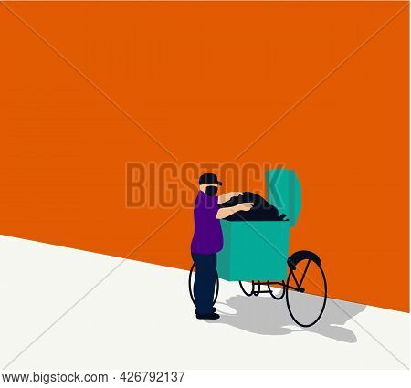 Garbage Man With Protective Facial Masks Collecting Trash Bag And Throw To The Garbage Cart During C
