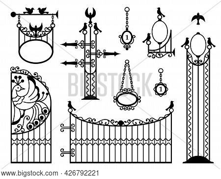 Iron Fence With Gates, Signboards, Lanterns And Pointers. Metal Entrance, Street Lights, Signs In Vi