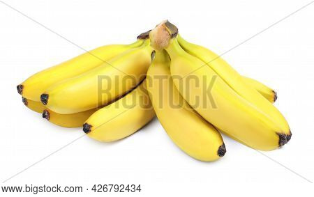 Clusters Of Ripe Baby Bananas On White Background