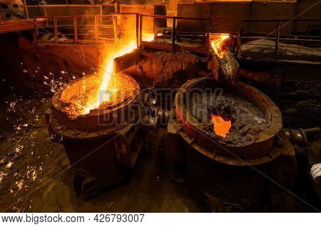 Special Metallurgical Ladles. The Process Of Pouring Molten Metal.