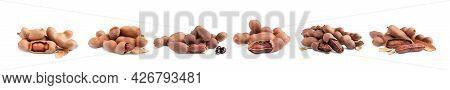 Set With Delicious Ripe Tamarinds On White Background, Banner Design. Exotic Fruit