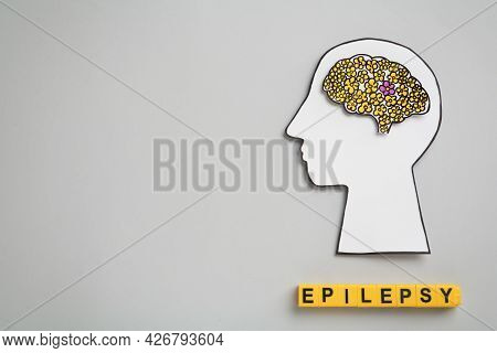 Human Head Cutout, Brain And Yellow Cubes With Word Epilepsy On Light Grey Background, Flat Lay. Spa