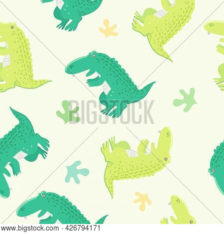 Seamless Pattern With Alligator And Plant On A Light Yellow Background. Cute Cartoon Animal. Vector