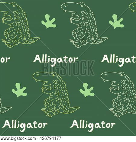 Seamless Pattern With Alligator And Plant On A Dark Green Background. Cute Cartoon Animal. Vector Il
