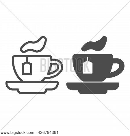 Cup Of Tea With Bag Line And Solid Icon, Englishbreakfast Concept, Cup Of Tea Vector Sign On White B