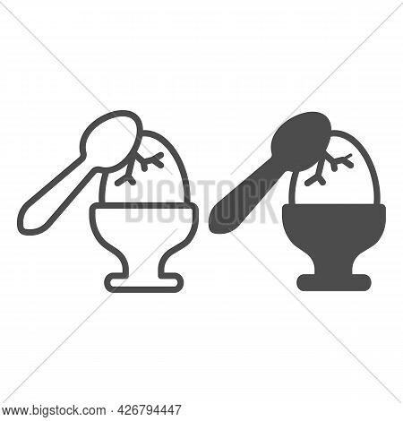 Cracked Faberge Egg Line And Solid Icon, Englishbreakfast Concept, Cracked Egg Vector Sign On White