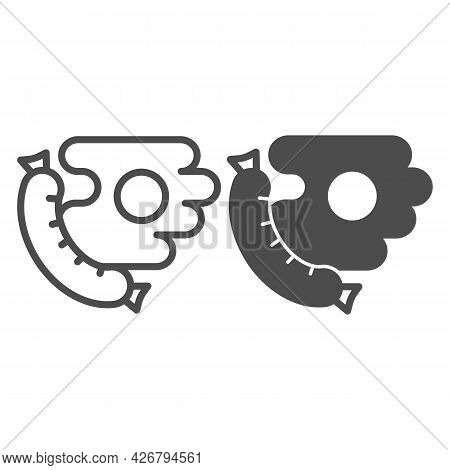 Meat Sausage, Fried Eggs Line And Solid Icon, Englishbreakfast Concept, Sausage, Eggs Vector Sign On