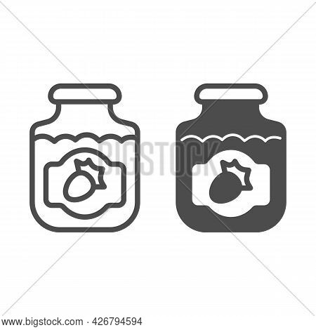 Jar Of Strawberry Jam Line And Solid Icon, Englishbreakfast Concept, Strawberry Jam Vector Sign On W