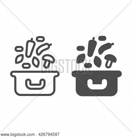 Cooking Pot And Soup Ingredients Line And Solid Icon, Englishbreakfast Concept, Soup Ingredients Vec