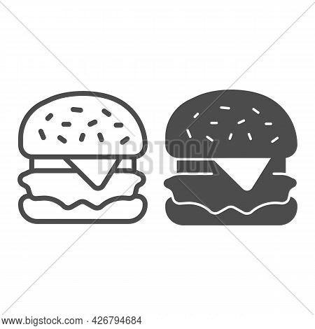 Hamburger With Cheese And Cabbage Line And Solid Icon, Englishbreakfast Concept, Hamburger Vector Si