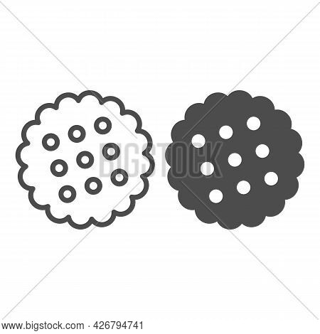 Cracker Line And Solid Icon, Englishbreakfast Concept, Cookies Vector Sign On White Background, Crac