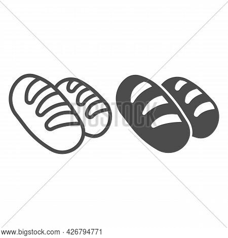Two Rolls Of Bread Line And Solid Icon, Englishbreakfast Concept, Loaves Vector Sign On White Backgr