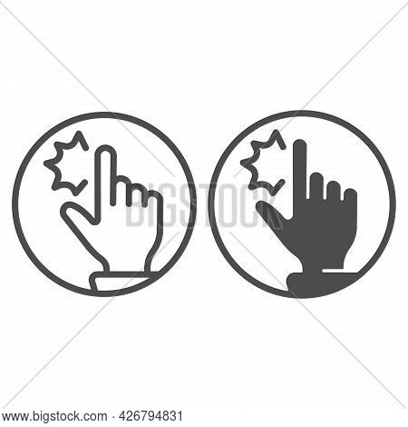 Employee Finger Pain Line And Solid Icon, Officesyndrome Concept, Finger Pain Vector Sign On White B