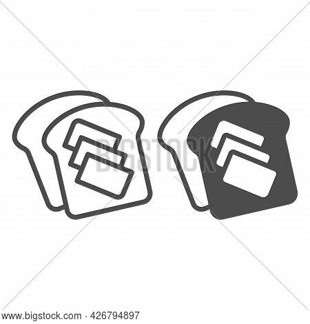 Toast Bread With Butter Line And Solid Icon, Englishbreakfast Concept, Toast With Butter Vector Sign