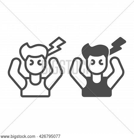 Employee In Stress Line And Solid Icon, Officesyndrome Concept, Employee In Stress Vector Sign On Wh