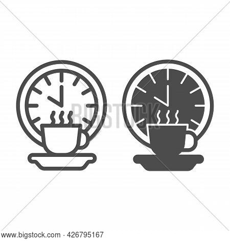 Coffee Break Line And Solid Icon, Officesyndrome Concept, Coffee Break Vector Sign On White Backgrou