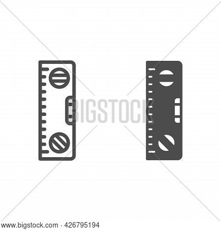 Building Meter Tool Line And Solid Icon, Construction Tools Concept, Spirit Level Ruler Vector Sign