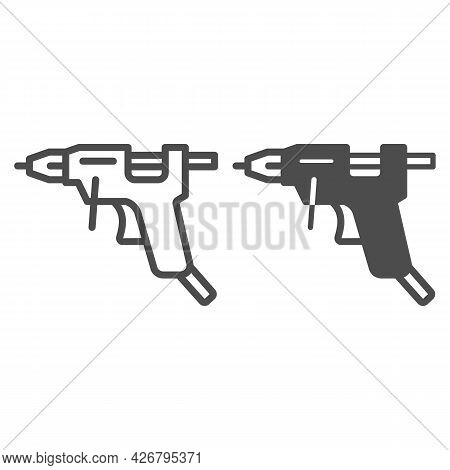 Glue Gun Line And Solid Icon, Construction Tools Concept, Hot Melt Glue Gun Vector Sign On White Bac