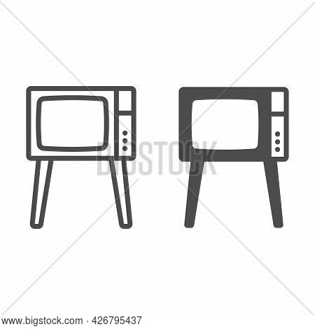 Tv On Legs Line And Solid Icon, Monitors And Tv Concept, Old Fashioned Vintage Tv On Legs Vector Sig