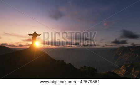 Christ The Redemeer At Sunset, Rio De Janeiro, Brazil, 3D Render