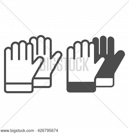 Protective Gloves Line And Solid Icon, Construction Tools Concept, Construction Safety Gloves Vector