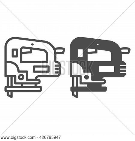 Jigsaw Line And Solid Icon, Construction Tools Concept, D Handle Jig Saw Vector Sign On White Backgr