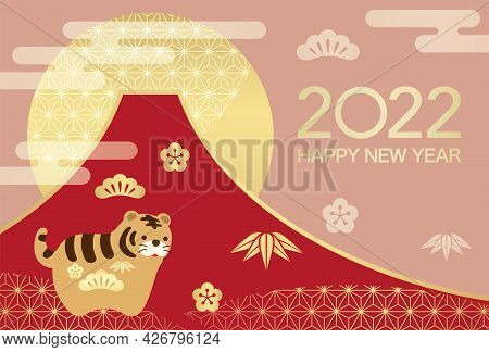 2022, Year Of The Tiger, New Year's Greeting Card Vector Template With Mt. Fuji, Sunrise, And A Vint